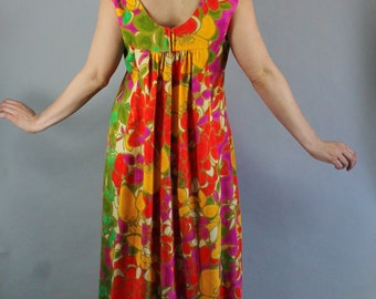 Summer Dress, Vintage 60s, Hawaiian Dress, Tiki Party, Bright, Floral, Spring Break, Beach, Maxi, Festival, Mod, Sleeveless, Size Large