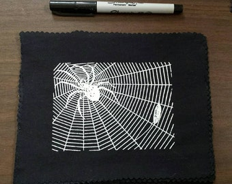 Spider with prey : handprinted patch