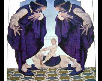 Maxfield Parrish Color Plate from children's book- Poems of Childhood 1904-THE FLYAWAY HORSE