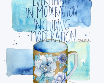 Blue and Gold Coffee Cup Illustration with Oscar Wilde quote