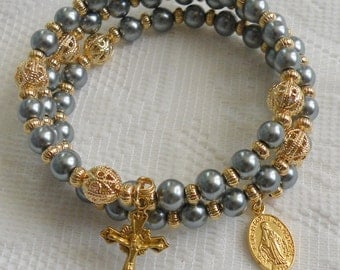 Five Decade Catholic Rosary Bracelet - Pewter Glass Pearls with Small Miraculous Medal - Available in Gold or Silver