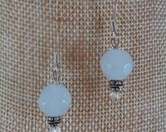 Pale lavender glass bead dangle earrings