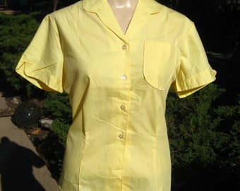 Vintage 50s Yellow Short Sleeve Button Up Blouse Top Shirt NOS size 34