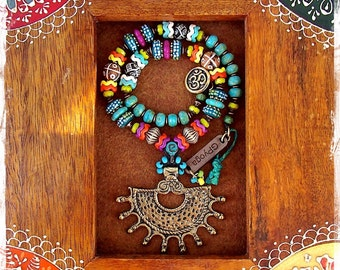 ANCIENT SUN Necklace SURYA Om necklace Afrocentric Statement neckpiece Ibiza Bikini jewelry Tribal Boho nomad necklace Yoga Festival GPyoga