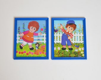 Vintage 60s 70s Raggedy Ann and Andy Boy & Girl Prints Pair Set of 2