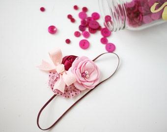 Berry Fresh- berry fuchsia pink singed satin rosette and chiffon headband with bow