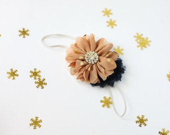 Winter Tale -- mustard navy gold chiffon flower headband fall bow