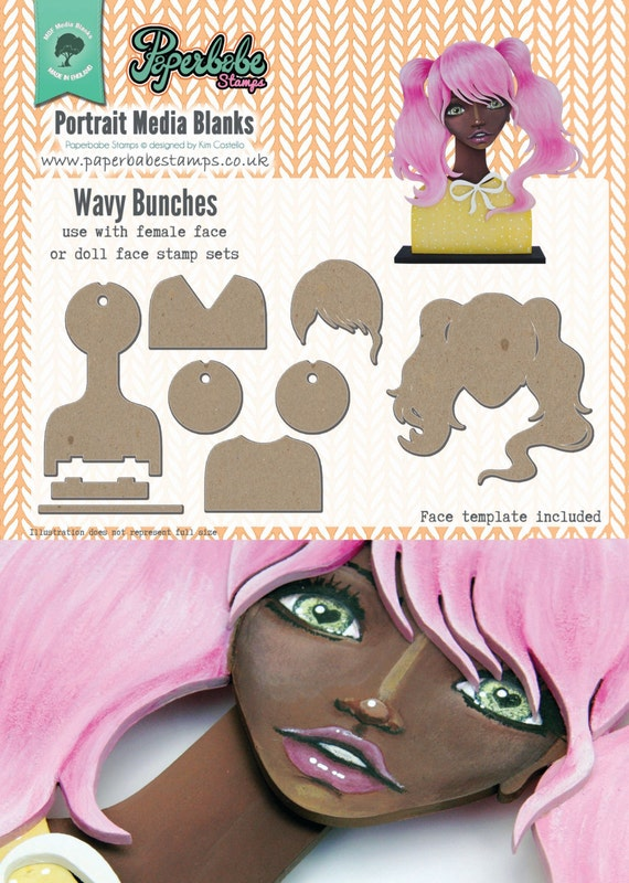 Portrait Media Blanks ~ Wavy Bunches Kit ~ Paperbabe Stamps ~ MDF Substrate for mixed media and craft.