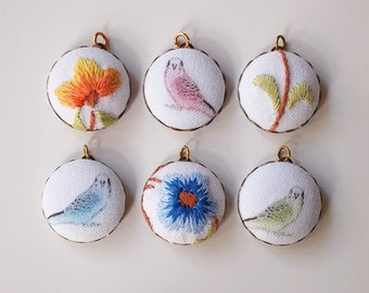 Charms Fabric Budgies And Embroidered Flowers  Handmade Antique Brass Back Set Of 6 (set 2)