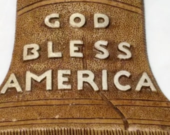 God Bless America Liberty Bell vintage (1960s) resin wall plaque