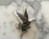Eagle Brooch Pin . Antique Rhinestone