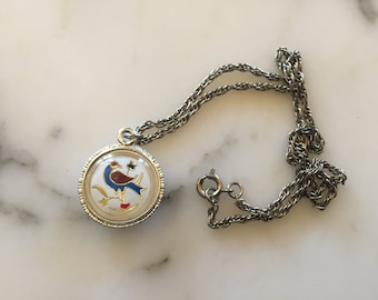 Flower and Bird Charm Necklace . Retro Mod Two Sided