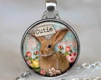 Bunny Rabbit Cutie necklace, Bunny Rabbit pendant, Easter necklace, cute bunny jewelry rabbit jewelry rabbit lover gift key chain