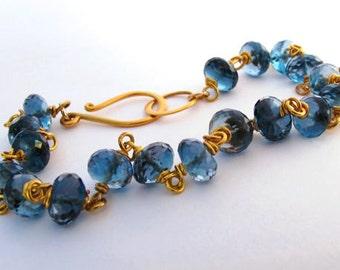 14k London Blue Topaz Bracelet, 14k Solid Gold London Blue Topaz Bracelet, Blue Topaz Bracelet
