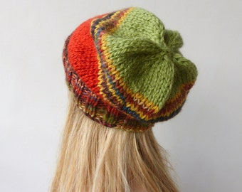 Multi Colour Super Slouchy beanie Greenery Colourful Beanie Slouch hat Winter hat