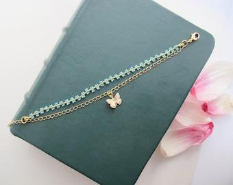 Chain Bracelet / Beaded Bracelet / Dainty Bracelet / Butterfly Bracelet / Golden Bracelet / Bridesmaid Gift / Friendship Bracelet /
