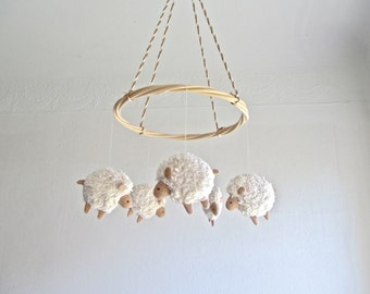 Sheep - nursery mobile - lambs - baby room decor - farm - new baby gift - white - beige - pastel - gender neutral - rental safe