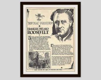 FDR, Franklin Roosevelt, Vintage Art Print, Classroom Art, Teacher Gift, History Lovers Gift, American History Print, Political Art