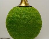 Vintage globe Lamp Mid Century Green lucite spaghetti ball textured Large Table lamp light