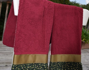 Flower Buds and Leaves on Maroon Towels set of 2 kitchen tea dish hand guest towel