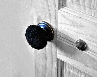 3 Black Door Knob Covers Child Safe Modern Design Toddler Protection Crocheted Home Decor Custom Colors