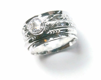 Silver spinner rings cubic zirconia ring Sterling silver rings for women anxiety ring fidget ring worry ring rolling ring