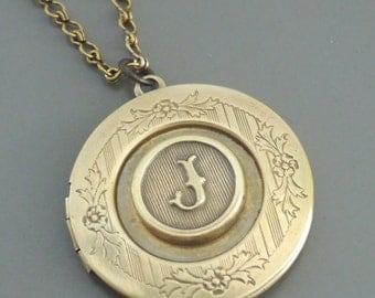 Locket Necklace - Initial Necklace - Letter J - Vintage Brass Necklace - Personalized Necklace - ALL LETTERS - handmade jewelry