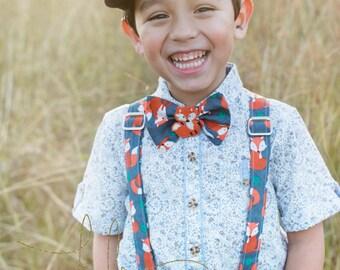 Fox Bow Tie and Suspenders, Woodland, Boy Dress Up Set, Wedding, Holiday, Church, Birthday, Toddler, Tween