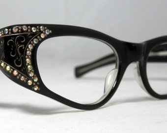 Vintage 60s Gold and Black and Gold Cat Eye Eyeglasses. With AB Rhinestones. Swank Frame France