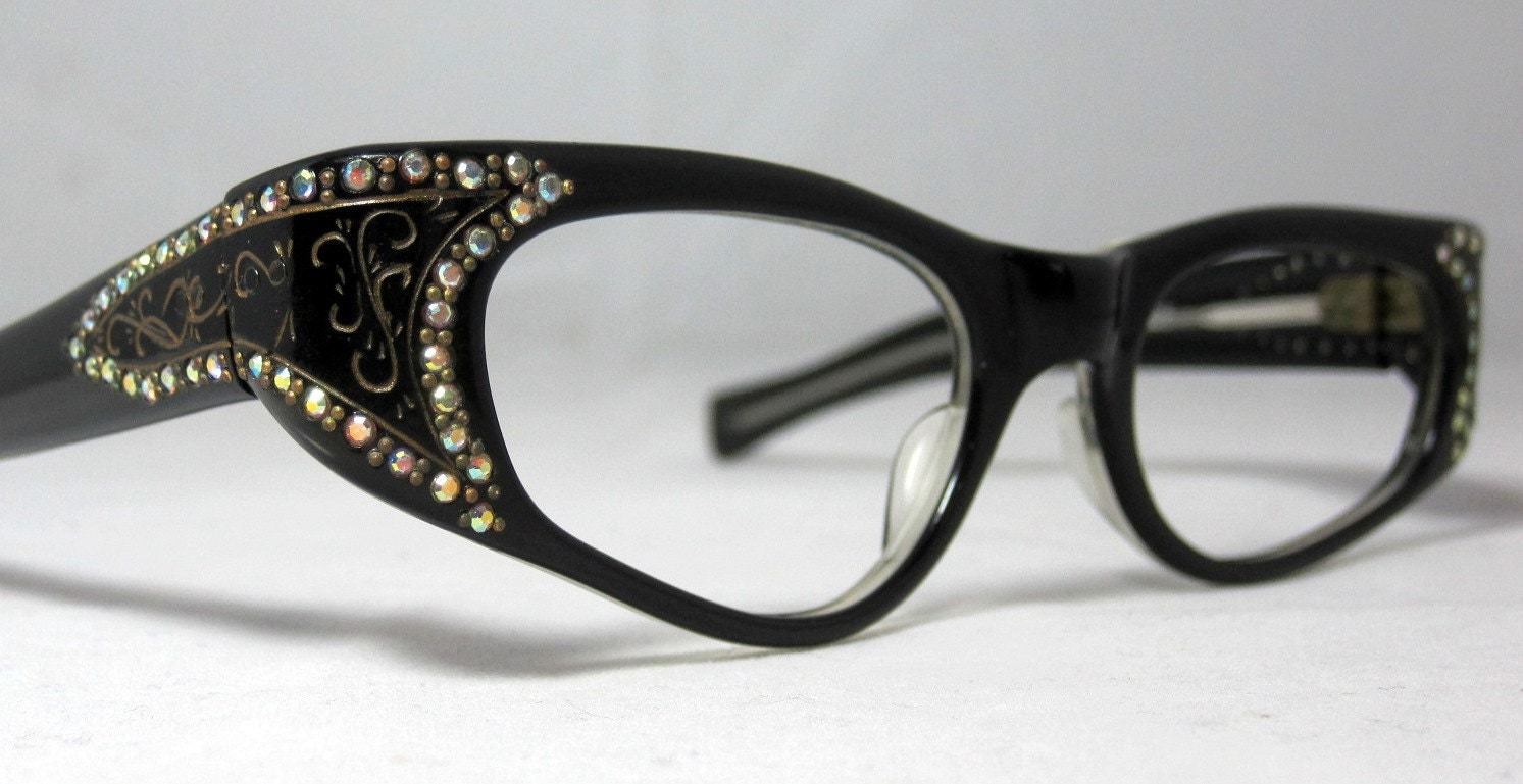 Black And Gold Eyeglass Frames : Vintage 60s Gold and Black and Gold Cat Eye Eyeglasses. With