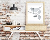 bird poster, bird silhouette print, 11x14 art print, bird art gray minimalist bird poster, white animal art living room decor, hipster print