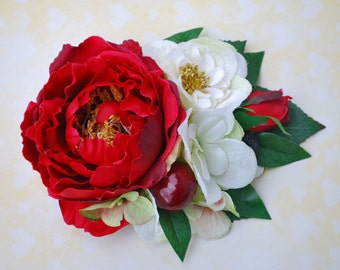 Unique red english rose with cream roses and hydrangea cherries and berries vintage wedding bridal hairflower hair piece