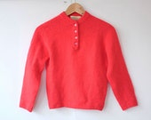 vintage 1950s angora sweater / 50s coral lambswool sweater