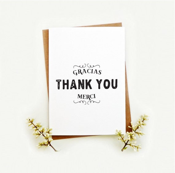 Items similar to Thank you card. Wedding thanks french ...