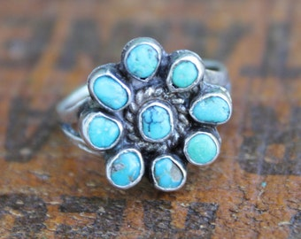American Indian Sterling Silver & Turquoise Flower Ring
