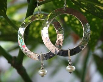 Hammered Sterling Silver Hoops  & Freshwater Pearls Earrings
