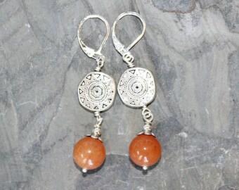 Orange Earrings, Sun Earrings, Southwestern Earrings, Aventurine Earrings, Natural Stone Earrings, Handmade Earrings, Bohemian Earrings