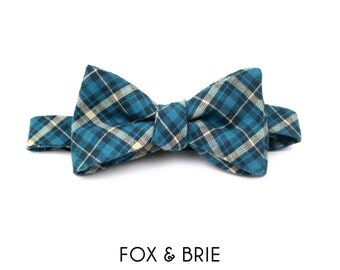 Ocean Plaid Bow Tie