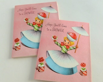 Baby or Bridal Shower Invitations Lot of 10 Unused Fill in the Blank Mid Century Cards Invites