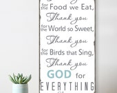 SALE! Thank You For the Food We Eat  Blessing - In Stock and ready to ship - Typography Word Art  Distressed Wood  Wall Sign