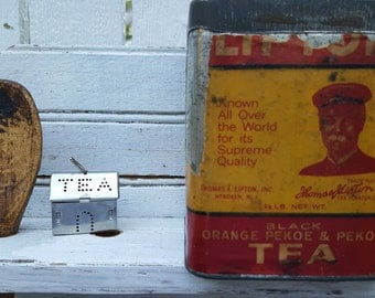 Vintage Old Paper Label Lipton Tea Tin  ~ Collectible ~ TVVTEAM ~ container ~ cannister
