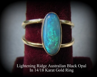 Black Opal Ring in 14/18 Karat Gold