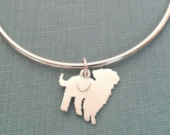Maltipoo Dog Bangle Bracelet, Sterling Silver Personalize Pendant, Breed Silhouette Charm, Rescue Shelter, Dog Lover Gift