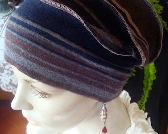 Womens Wide headband med weight merino  black brown grey stripe head wrap