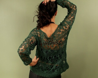 Green Loose Sweater, Knit Lace Sweater, Women Knit Sweater, Top Tunic, Cotton Lace Top, Forest Green Long Sleeve Blouse, Open Work Sweater
