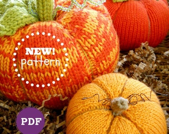 NEW! PATTERN-PDF. A Knit Pumpkin Patch Pattern. No Felting Required.