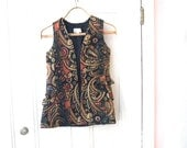 1960s Needlepoint Carpet Vest - Ladies - XS X Small - John Meyer of Norwich