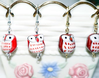 Owl Pierced Earrings Ceramic Brown & White and Reddish Orange and white Owl Beads 2 Pairs