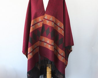 Burgundy poncho Winter wrap Aztec cape Tribal ponchos Winter outerwear Blanket poncho Boho chic womens clothing Christmas gift for her