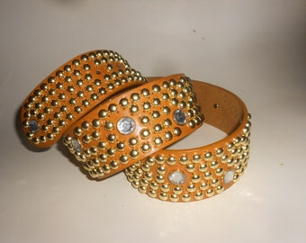 "Studded Belt ""Material Girl"" 80s Glam-Rock Belt With Dazzling Faceted Crystals and Gold Tone Studding and Buckle"